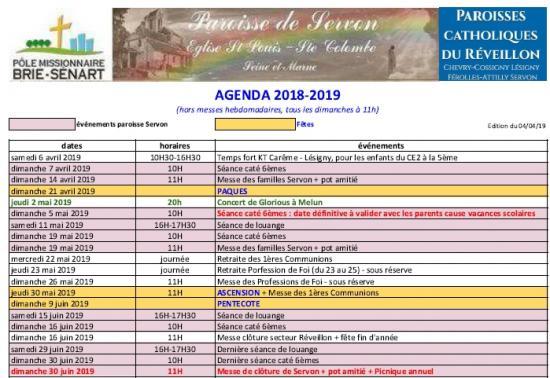 Agenda paroisse 2019